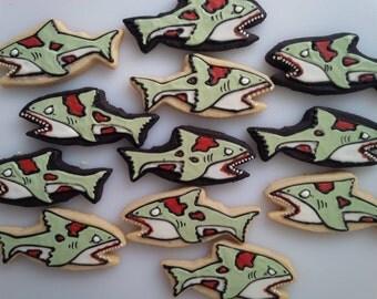Zombie Shark Cookies - One Dozen Decorated Cookies