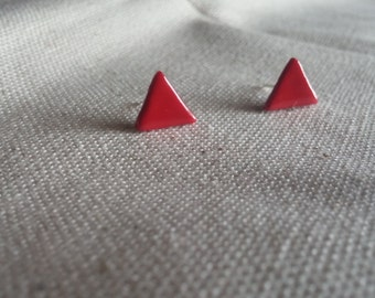 Cherry Red Triangle Earrings - Polymer Clay Studs