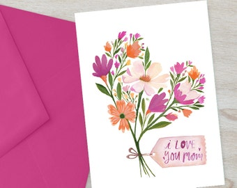 Mom Card, Printable Greeting Card, I LOVE YOU MOM | Mother Card | Instant Download Card For Mom, I Love Mom Greeting Card | Digital Card