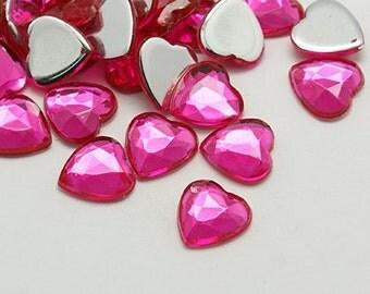 Hot pink rhinestones - 18mm - Acrylic heart rhinestones - Heart rhinestones - Flatback resin - Heart cabochon - Crafting bling - DIY crafts