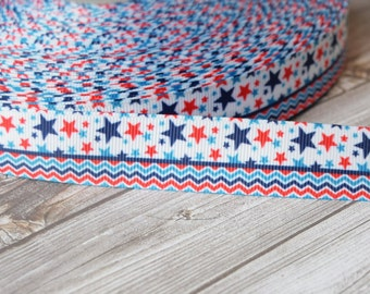 4th of july ribbon - Patriotic stars and chevron - red white blue - 7/8 grosgrain ribbon - 3 or 5 yard lot - Americana crafts - DIY bows
