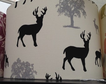 Black and grey stag lampshades