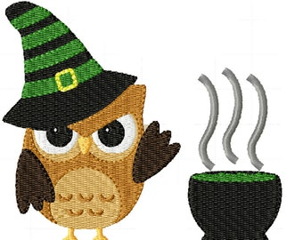 Witch Owl- Machine Embroidery Design