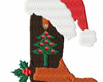 Christmas Cowboy Boot -A Machine Embroidery Design for the Cowboys and Cowgirls
