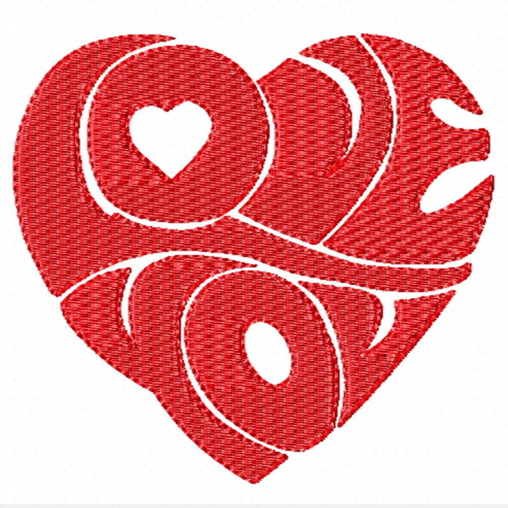 Love you a machine embroidery design