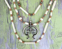 Native American Sterling Silver Naja Necklace, Three Strands of Bone Beads on Hand Knotted Natural Leather, Handmade