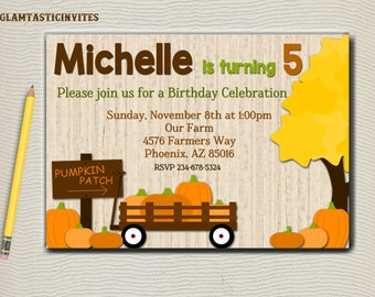 Pumpkin Patch Birthday Invitation, Fall Birthday Invitation, Pumpkin Invitation, Birthday Invitation, Wood, Pumpkin Patch, Rustic Invitation