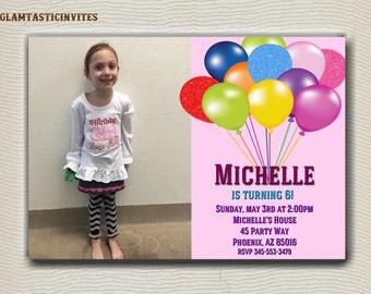 Balloon Birthday Invitation, Girl Birthday Invitation, Girl Birthday, Birthday Invitation, Custom, Digital, Printable, Colorful Invitation