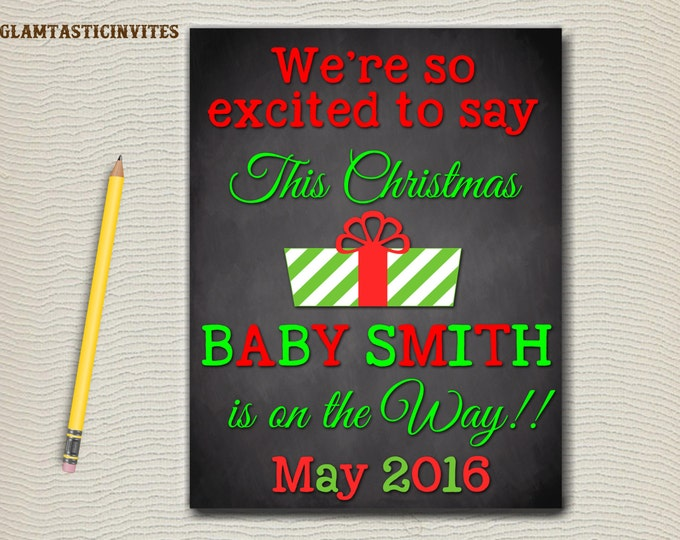 Christmas Pregnancy Announcement, We're Excited to Say, Pregnancy Reveal, Photo Prop, Winter, Christmas, Expecting, Seasons Greetings, DIY