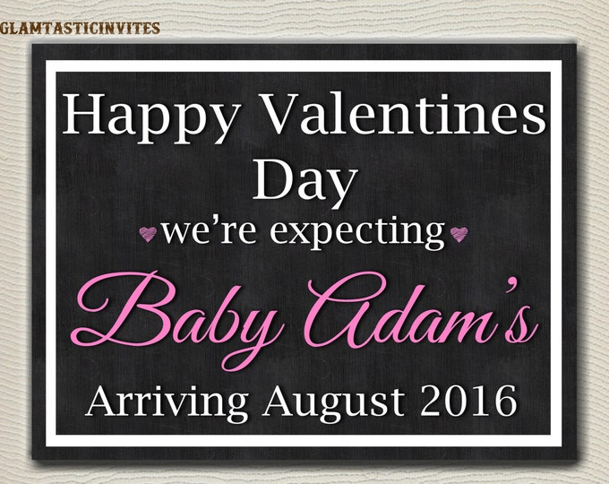 Valentine's Day Pregnancy ANNOUNCEMENT, Pregnancy Chalkboard Sign, Photo PROP, Pregnancy Announcement Sign, Digital Chalkboard, Printable