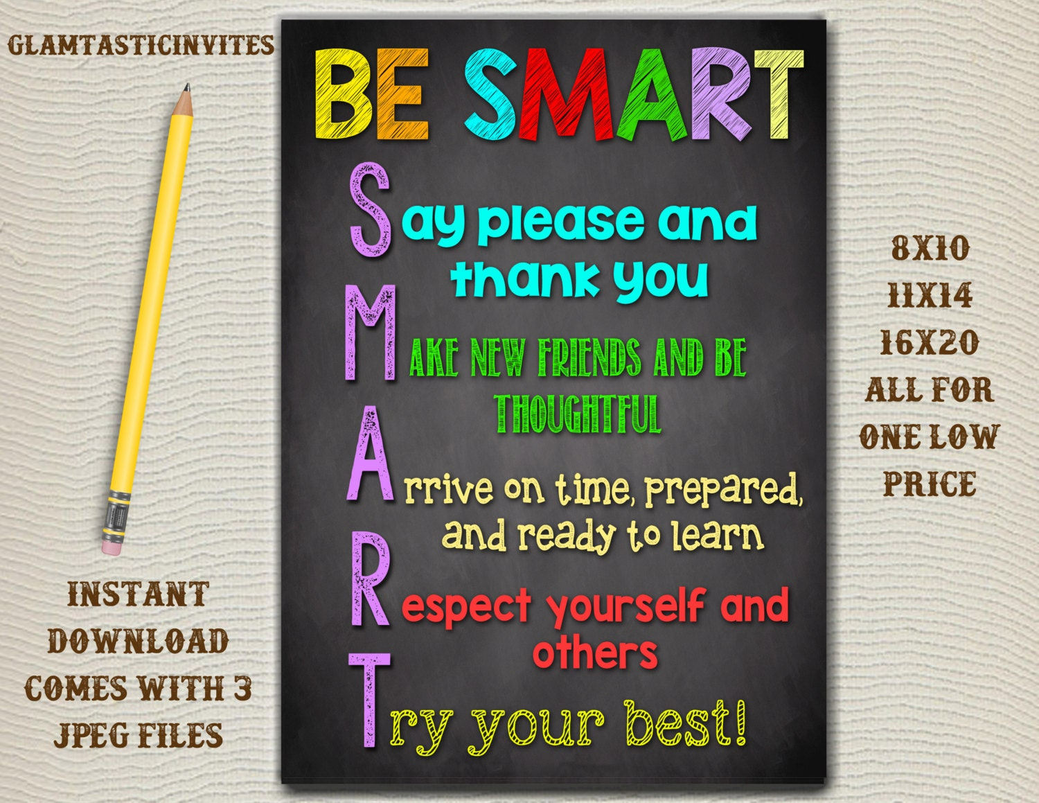 Classroom Decor Teacher Decor Be Smart Good Choices Quotes