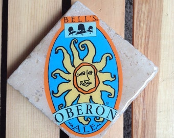 Bell's Brewery Oberon Ale Tumbled Stone Coaster from Upcycled Beer Stickers. Beer Coasters. Drink Coasters. Beer Gift