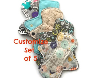 Customize set of 5 light flow cloth pads/pantyliners *Choose fabric or receive Mystery Pack*