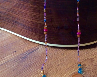 Extra long shell, beaded necklace