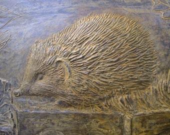 Hedgehog cast stone garden plaque, hedgehog picture, hedgehog garden ornament