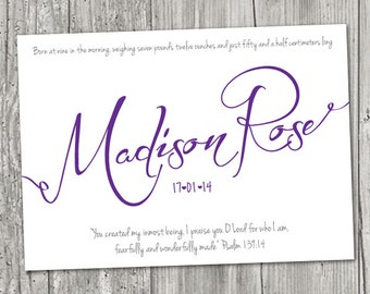 Baby Name and birth details SCRIPT with Bible Verse or Quote PRINT