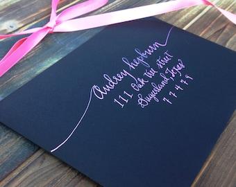 "Wedding Calligraphy Envelope/ Save the date Calligraphy Envelope Addressing/ Hand Lettered/ Custom Wedding Address ""Audrey"" Style"