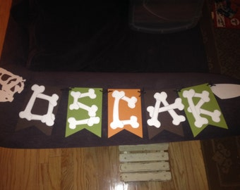 Dinosaur Birthday Banner with Bone letters.