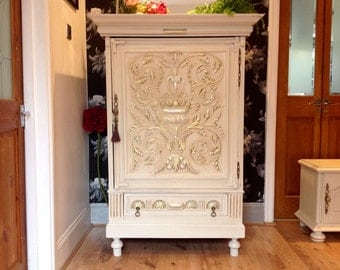 SOLD -------Antique Carved French Dresser Sideboar Cabinet Drinks Cupboard Shabby Chic Chest