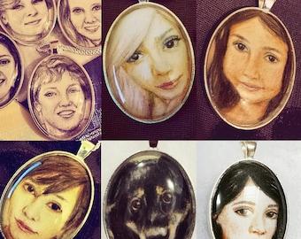 Custom portrait drawing necklace pendant