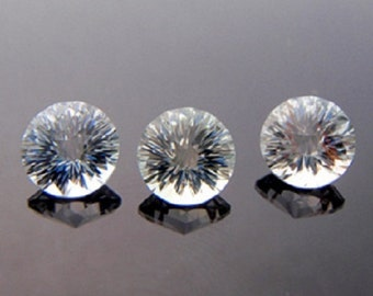 Natural White Crystal Quartz - 8mm Concave Cut Round Calibrated Size Top Quality - White Quartz - Loose Gemstone