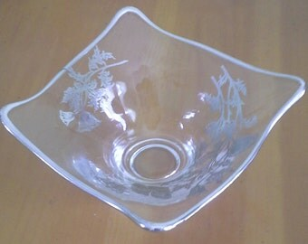 Glass dish with silver floral etching