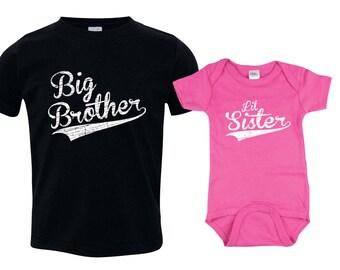 Big Brother Little Sister Set, Big Brother Shirt, Little Sister Bodysuit, Lil Sis Bodysuit, Big Bro Shirt, Big Bro Lil Sis Baseball BBSib