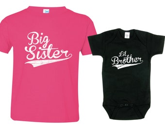 Big Sister Little Brother Shirts set of 2, Sibling T-shirt or Creeper, Big Sisters Baseball shirt, Little Brothers Baseball shirt, BBSib