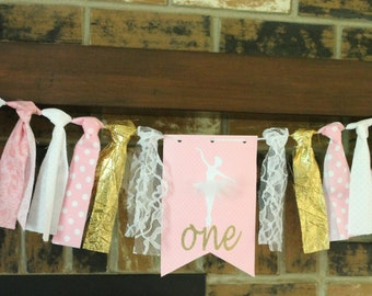 Ballerina Banner, Ballerina Birthday Banner, Ballerina Party, Pink Gold Party Banner, Princess Birthday Banner