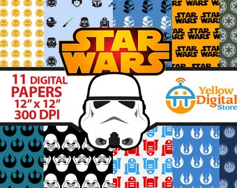 70% Off SALE STAR WARS Digital Paper Pack, Digital Papers, 11 pdf files 12 x 12 - Instant Download