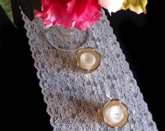Vintage Black / White Lace Table Runner In Small Pattern, Lace Wedding  Table Runners