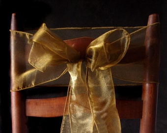 Gold Organza Chair Sash, Bow or Table Runner (Pack of 10)