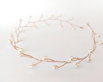 Bridal pearl hair vine, bridal pearl headpiece, wedding headband, bridal pearl headband, pearl bridal hair vine, wedding hair vine