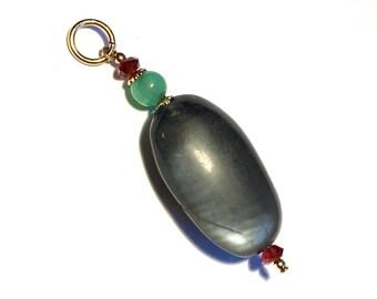 Vintage Handmade pendant, natural moonstone pendant, gemstone pendant, gray moonstone pendant