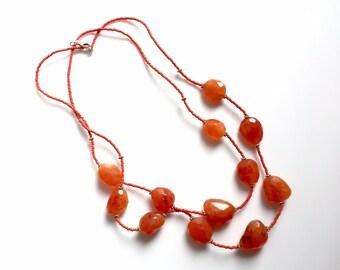 Vintage jewelry. Handmade necklace, Carnelian necklace, beaded necklace, chunky bead necklace