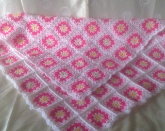 Crochet Baby Blanket with White Daisies, Crochet Daisy Blanket, Crochet Baby Flower Blanket