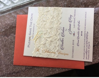 Ivory Lace Save the Dates