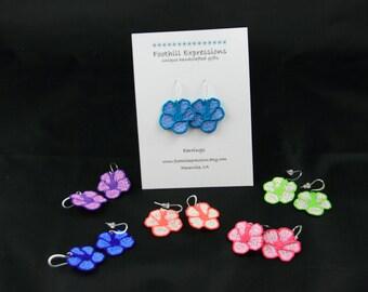 Hibiscus Earrings, Hibiscus Flower Earrings, FSL Hibiscus Earrings, Tropical Flower Earrings,