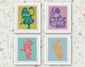 Set of 4 Quotes, Alice in Wonderland Cross Stitch Pattern Cute Modern Decor Set Red Violet Green Yellow Gold Pink Kit PDF Instant Download