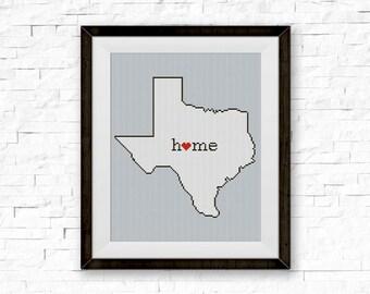 BOGO FREE! Texas Cross Stitch Pattern, Stripe Silhouette Cross Stitch Craft, Needlecraft Embroidery Needlework PDF Instant Download #039-5