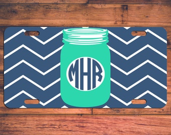 MASON JAR Monogram Car License Plate Customize Your Own Personalized Design! Southern Teal Chevron Preppy Custom Tag Monogrammed Customized