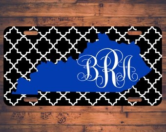 Kentucky Monogram License Plate Car Tag UK Wildcats KY Custom Chevron Monogrammed Tag Customized Personalized Gift - Customize your own!