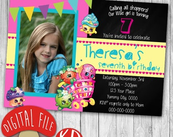 Shopkins Birthday Party Invitation - Chalkboard personalized photo - 5x7 or 4x6 - Digital file JPEG