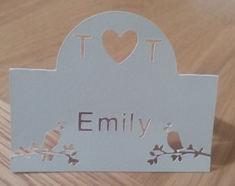 Handmade personalised bird place cards - pack of 20