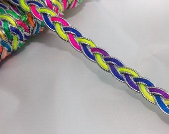 5 Metres x Multi Coloured Metallic Braid Bright Colours 10mm approx [Trim Ref T3231]
