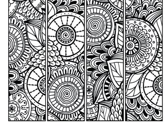 printable pattern coloring page bookmarks pdf jpg instant download coloring book