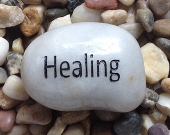 Engraved Stones / River Rocks with Inspirational Words - Gifts or Paper Weights - HEALING