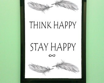 Happiness inspirational motivational quote print with digitally drawn feathers.