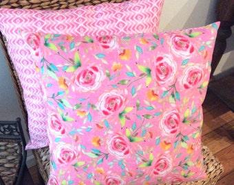 Reversible Pink Floral & Herringbone Pattern Cushion Cover 44cm x 44cm
