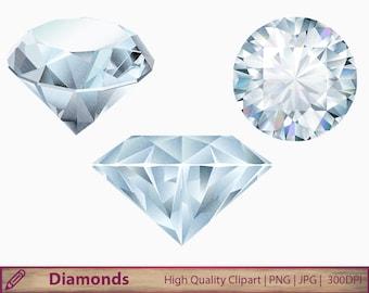 Diamonds clipart, crystal gems clip art, jewelry, jewel graphics, wedding invitation, scrapbooking, digital instant download, png jpg 300dpi
